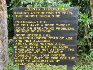 Day 1 - Kili Park Sign 1