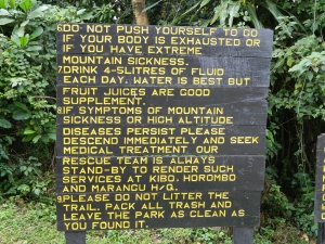 Day 1 - Kili Park Sign 2